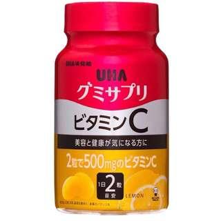 🚚 日本 UHA 味覺糖 2罐 60天 120粒 維生素C 檸檬口味 水果軟糖 美味營養補給品