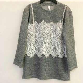 (Korea) 灰色✖蕾絲 假兩件式 上衣