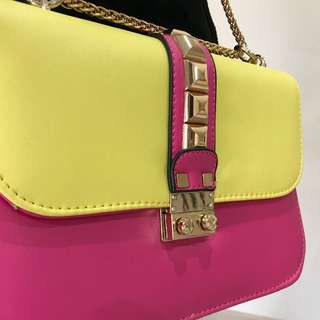 BRAND NEW Fluro Pink & Yellow Side Bag with Chain (FROM JAPAN)