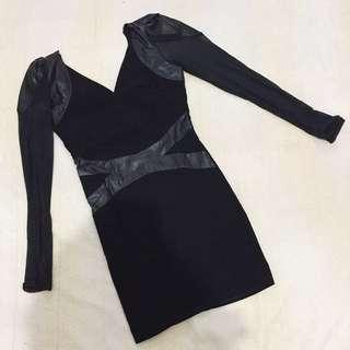 Bodycon Black Mini Dress (Kombinasi Leather)