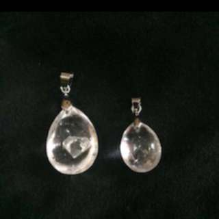 {FS138} Natural White Crystal Pendents