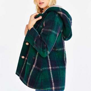 Urban Outfitters Green Plaid Pea Coat