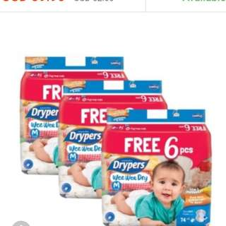 Wee Wee Drypers Tape - Size M (74+6pcs)