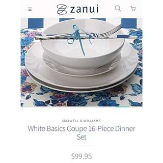 BNIB Maxwell Williams white 16 piece porcelain dinner set