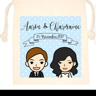 Customized couple portrait drawstring/tote bag/zip pouch