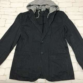 Black Label pin stripe jacket with hoodie