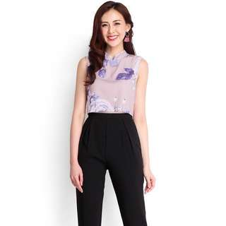 [BN] Flowers In The Attic Cheongsam Top In Purple Florals