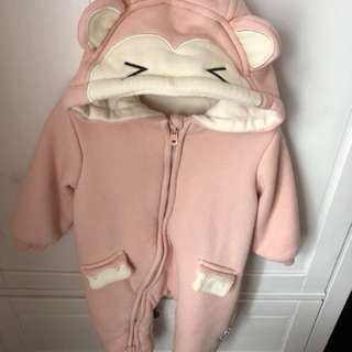 Baby Pink monkey winter Romper