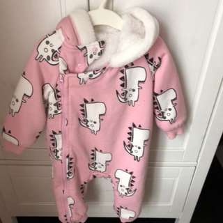 Pink dino winter romper