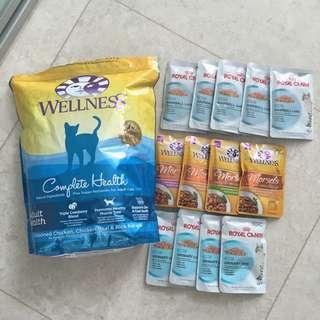 Premium Cat Food WELLNESS & ROYAL CANIN plus Bowls