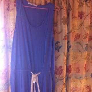 棉質性感連身裙(寶藍、尺寸F)