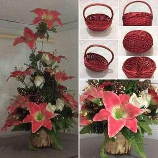 Floral Arrangement/Cane Basket