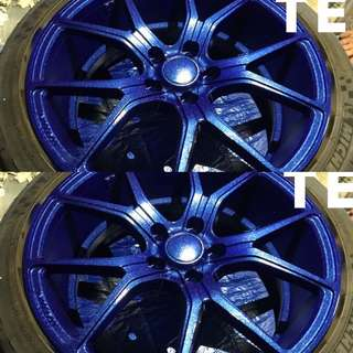 Electric blue rims with glitter dust💥🚗