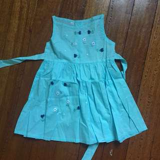 Blue Sleeveless Floral Dress for 1 Year Olds
