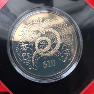 2001 Year of Snake Singapore $10 coinin box