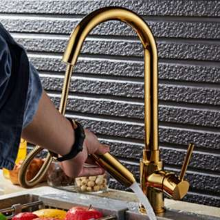 Luxury Gold Brass Kitchen Pull-out Faucet