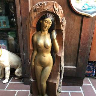 "23"" wood lady carving"