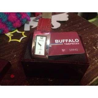 Buffalo By David Button Leather Strap Watch