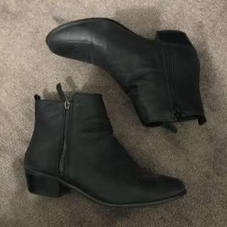 Rubi Black Zip Ankle Boots