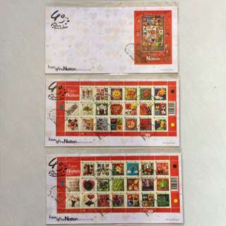 FDC First Day Cover - Singapore 2005 - National Day - Fabric of the Nation Stamp & Miniature Sheet (Set of 3 Covers)