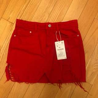 Zara Red Distressed Skirt with Tags