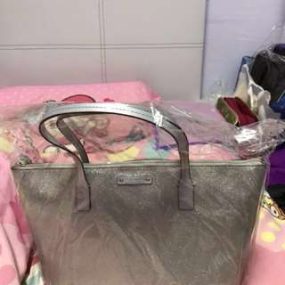 Kate Spade glitter tote bag in shiny silver colour