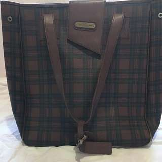 Authentic Ralph Lauren Large Plaid Leather Bag