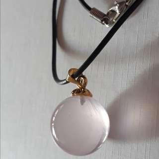Rose quartz ball pendant(马粉晶吊坠) with necklace string. 18K GP.