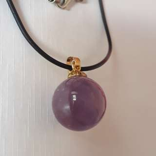 Lavender Amethyst ball pendant(熏衣草紫水晶吊坠) with necklace string. 18K GP.