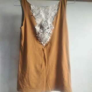 Brown Lace Tank Top