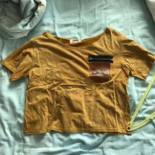 Mustard Crop Top with Leather Pocket