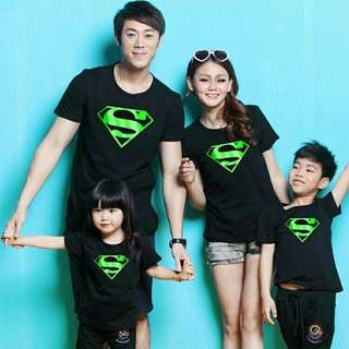 KAOS COUPLE / BAJU COUPLE / FAMILY COUPLE SUPERMAN GREEN FOIL 2 ANAK
