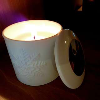 Scented candle  with winter themed ceramic holder