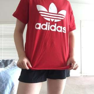 Red Adidas tee