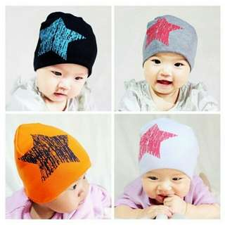 Baby Girl Boy Star Printed Soft Cotton Beanie Hat Cap