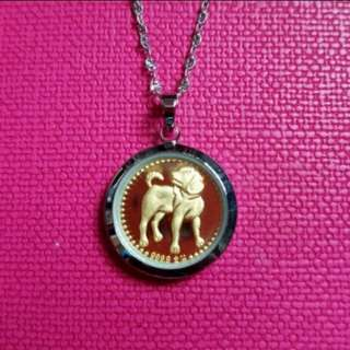 999.9 Gold Pendant With Silver Chain 足金生肖吊咀連925純銀項鍊套庄           ❤Poppy Dog❤