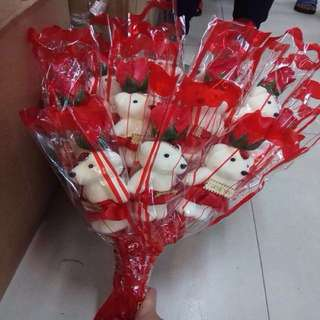(12 Pieces) Bouquet of Stuffed Toys and Roses Valentines Gift Idea 1 Dozen