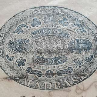 East / British India MADRAS OFFICE 1873 Fiscal 4 Annas Congreve Stamp Paper Coat of Arms Decent Condition Inde Indien  WATERMARK