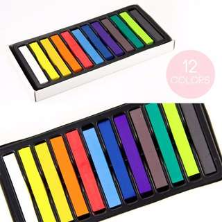 HFA5005 - (CLEARANCE SALE) 12 Colours Hair Chalk Temporary DIY Hair DYE Colour Soft Pastels Salon KIT