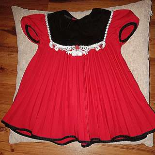 Red Pleated Dress 2y