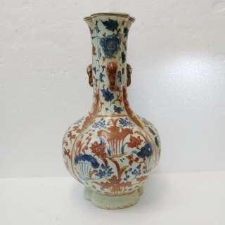 青花釉裡紅瓷花瓶