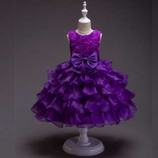 Girl´s Princess Flower Layer Dress Purple 6mth-10y Purple