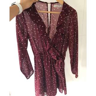 Starry wrap ruffle dress