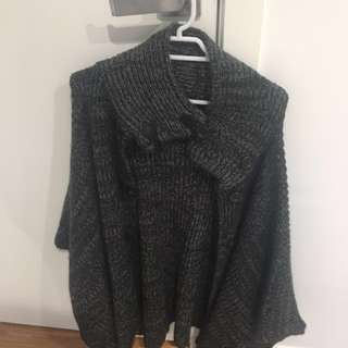 Bat sleeve wool cardigan