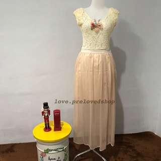 Long Dress Beige Peach