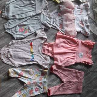 6pc romper baby carters + 2pc leging mothercare