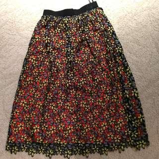 全新 Self Portrait Daisy Guipure lace midi skirt (size UK 8)