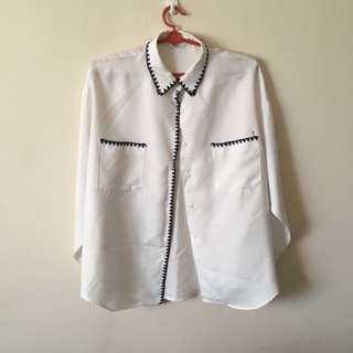 Embroidery silky button down shirt