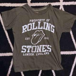 Khaki Rolling Stones licensed band tee