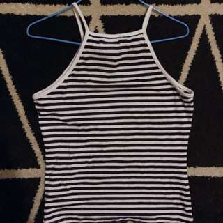 Black and white stripe semi halter neck singlet top